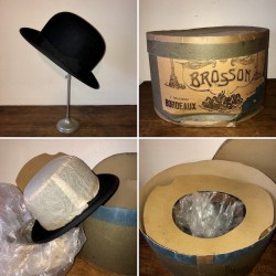 Ancienne boîte à chapeau + chapeau melon | Brosson | Bordeaux Toulouse