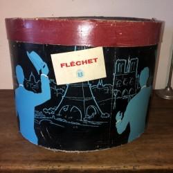 Ancienne boîte à chapeau | Fléchet | Décor homme Bleu