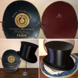 2 anciennes boîtes à chapeau claque + 1 chapeau claque | Chapeau mécanique Paris
