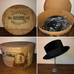 Old Bourne Chazelles s / Lyon hat box and 1 black hat