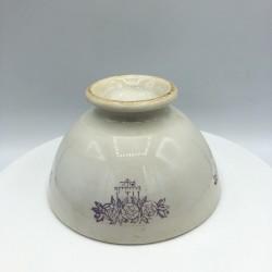 Ancien bol | Hauteur 6 cm  | Blanc décor violet | Collection de bols anciens