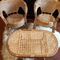 Vintage set of chairs and rattan table for child