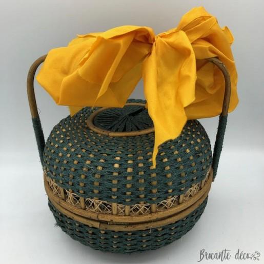 Ancien panier rond - sac à main ou boite à couture en osier