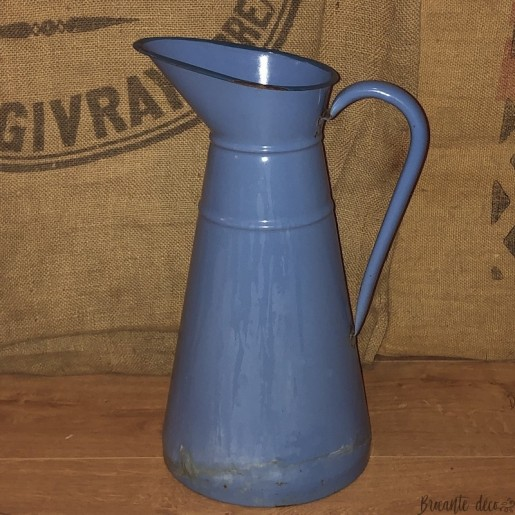 Old large blue enamelled pitcher | Old water pitcher | Farmhouse