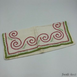 Old case or towel pouch | White color | Red and green embroidery