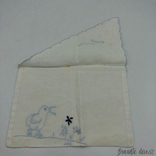 Old towel case baby color white embroidery blue