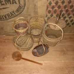 Lot de 7 petites vanneries anciennes   Petits paniers anciens   Vannerie ancienne