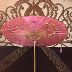 Ancienne ombrelle asiatique | Soie brodée | Bambou