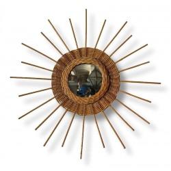 Miroir soleil vintage | En osier | Miroir vintage