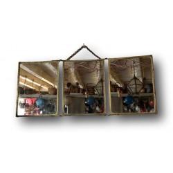 Ancien miroir triptyque | Miroir triptyque de barbier | Verso décoré
