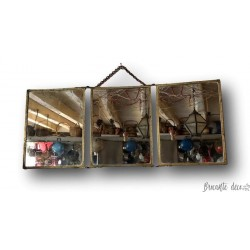 Old triptych mirror | Barber triptych mirror | Decorated back