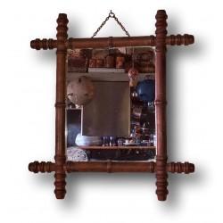 Ancien miroir bambou |En bois imitation bambou  | Années 20 / 30