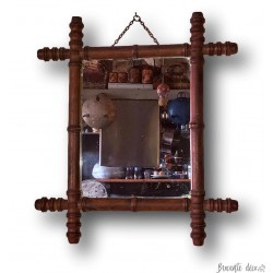 Old bamboo mirror | In bamboo imitation wood | 20s / 30s