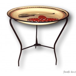 Table vintage à plateau en tôle émaillée   Table ronde pliante   Décor mexicain