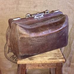Ancien sac en cuir de médecin ou voyage | Ancienne sacoche de médecin