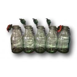 Lot de 5 anciennes bouteilles L'IDÉALE   1 litre   En verre soufflé