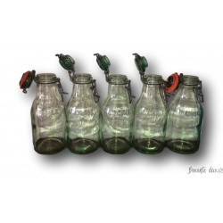 Lot of 5 old L'IDÉALE bottles | 1 liter | Blown glass