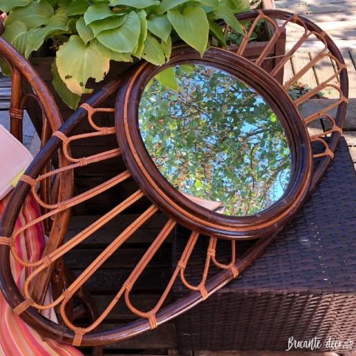 Très grand miroir ovale en rotin vintage - Soleil - Année 60