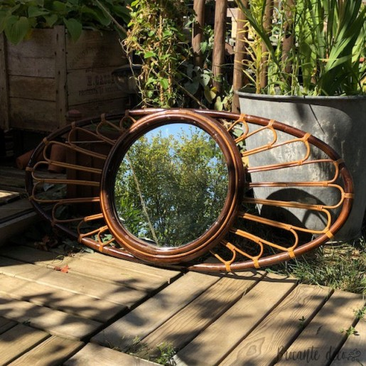 Very large oval mirror in vintage rattan - Sun - 60's