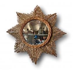 Ancien miroir soleil en rotin | 65 cm X 65 cm | Miroir soleil vintage