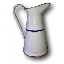 Ancien broc à eau émaillé | Blanc, bleu, or | Art populaire