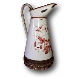 Ancien broc à eau émaillé | Blanc, marron | Décor floral | Art populaire