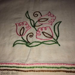 Old hand embroidered tablecloth floral decor