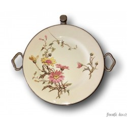 Old earthenware and pewter heating plate | Old porridge plate