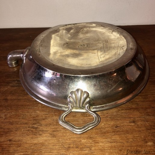 Old earthenware and pewter heating plate   Old porridge plate