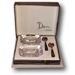 Ancien coffret de salerons Daum France et cuillères en métal argenté Ercuis
