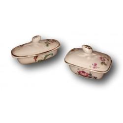 Lot de 2 petites boîtes en porcelaine jouet | Nécéssaire de toilette | Jouet ancien