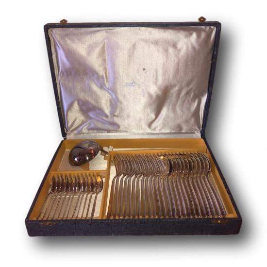 Ancien coffret de couverts en métal argenté | Ravinet d'Enfert |37 pièces