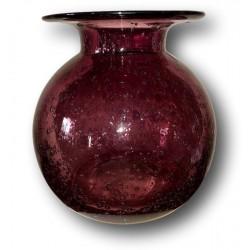 Blown glass ball vase   In the Taste of Biot   Wine color