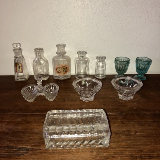 Old dinette and glass bottles   Collection   Old toy