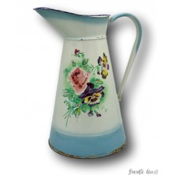Old large enamelled sheet water pitcher | Pansies and rose decor