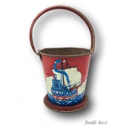 Old Kid's Small Beach Bucket | Antique lithographed tin toy