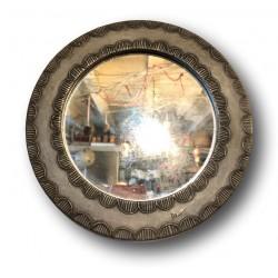 Ancien miroir en étain d'artiste | Miroir rond signé | Miroir Vintage
