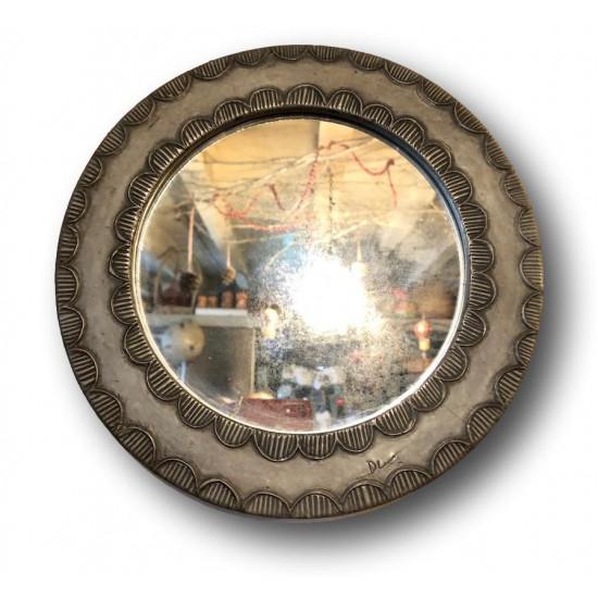 Old artist's pewter mirror | Round mirror signed | Vintage mirror