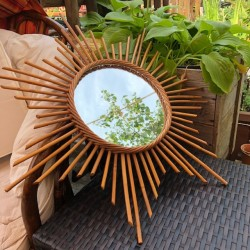 ☼ Vintage rattan sun mirror - Year 60 ☼