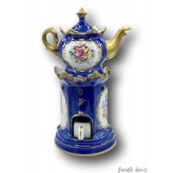 Old royal blue tea maker | Couleuvre France - B | Hand decorated gold