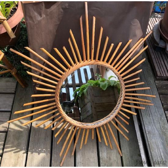 ☼ Miroir soleil en rotin vintage - Année 60 ☼