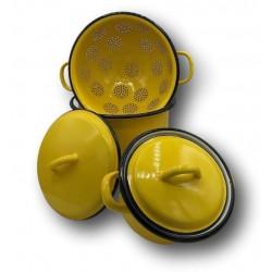 Ensemble en tôle émaillée jaune   Déco cuisine vintage   Batterie de cuisine