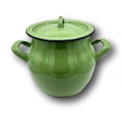 Ancien petit faitout de dînette ou cuisine   Tôle émaillée  Vert
