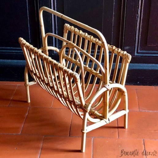 Vintage rattan magazine rack - Year 60