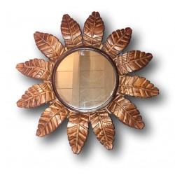 Ancien miroir soleil en bois | Miroir vintage | Rayons feuilles