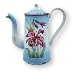 Old enamelled tin coffee maker | Floral decor | Enamel coffee maker
