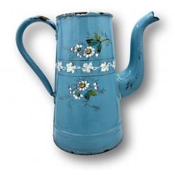 Ancienne cafetière en tôle émaillée | Bleue | Décor floral en relief