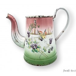 Old enamelled sheet coffee maker | Floral and butterfly decor | Enamel coffee maker
