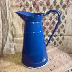 Ancien broc à eau en tôle émaillée | Bleu canard | Broc émaillé