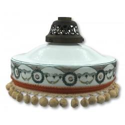 Old decorated opaline pendant light   Napoleon 3   White opaline